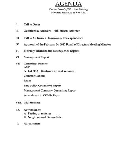 March 2018 Meeting Agenda